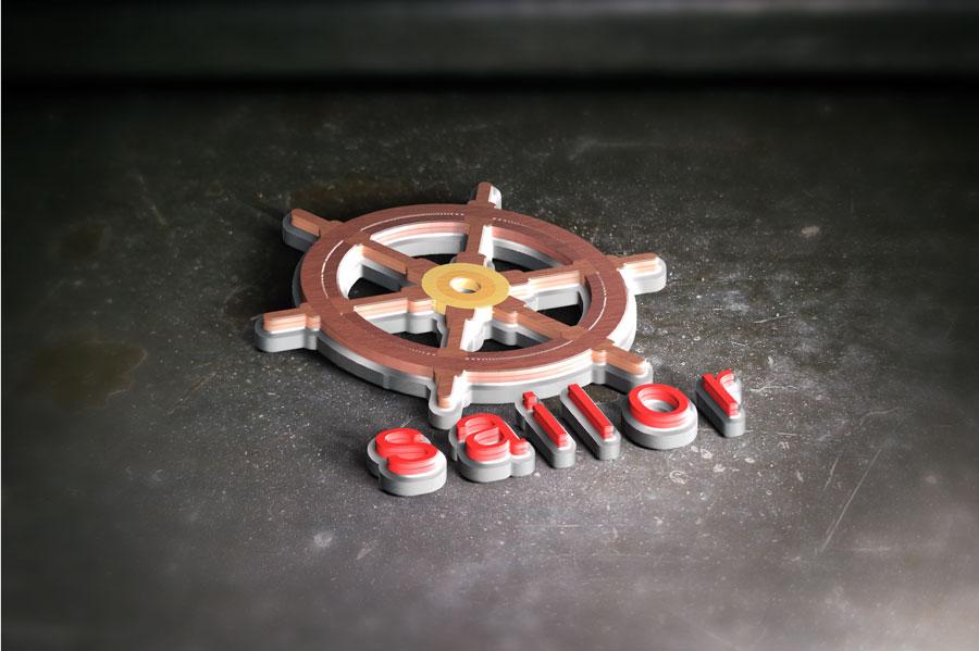 دانلود موکاپ سه بعدی لوگو با طرح چوب