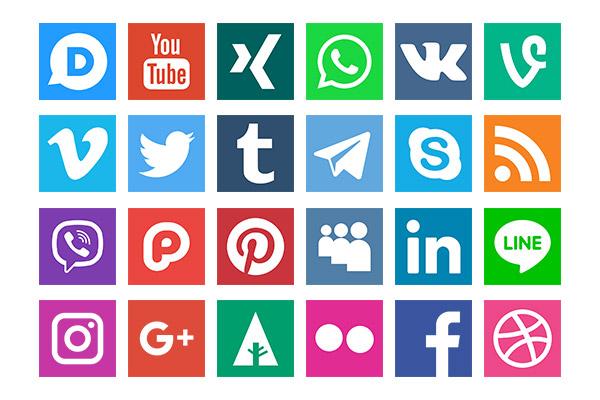 مجموعه آیکن فلت شبکه های اجتماعی سری چهارم